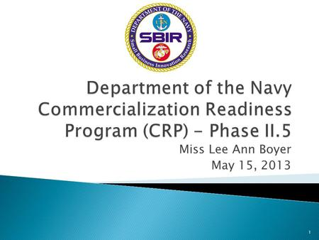Miss Lee Ann Boyer May 15, 2013 1. DON SBIR/STTR is an R&D program meeting critical Naval acquisition program and operational needs – a warfighter focus.