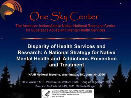 1 The American Indian/Alaska Native National Resource Center for Substance Abuse and Mental Health Services Disparity of Health Services and Research: