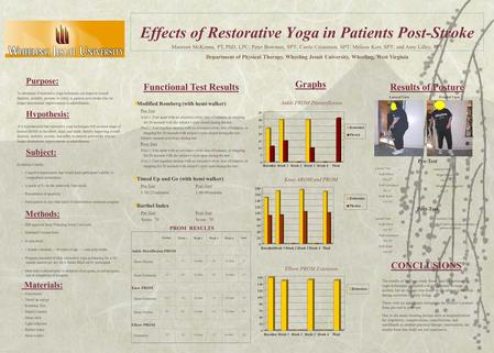 Effects of Restorative Yoga in Patients Post-Stroke Purpose: To determine if restorative yoga techniques can improve overall function, mobility, posture,