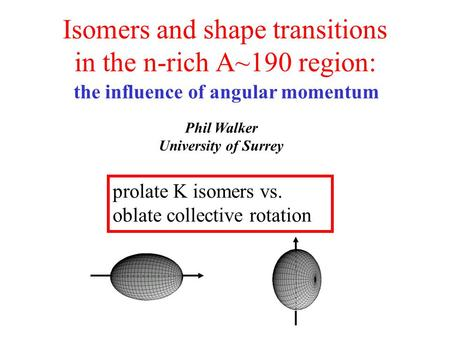 Isomers and shape transitions in the n-rich A~190 region: Phil Walker University of Surrey prolate K isomers vs. oblate collective rotation the influence.