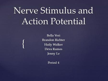 { Nerve Stimulus and Action Potential Bella Veri Brandon Richter Haily Walker Deva Ramos Jenny Le Period 4.