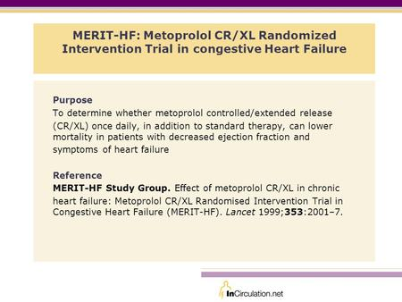 Purpose To determine whether metoprolol controlled/extended release