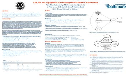 JCM, VIE and Engagement in Predicting Federal Workers' Performance Tom Mitchell, University of Baltimore J. Peter Leeds, U. S. Merit.