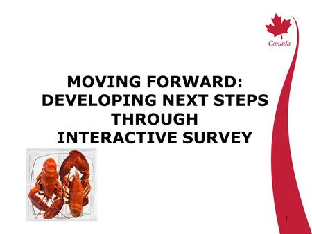 1 MOVING FORWARD: DEVELOPING NEXT STEPS THROUGH INTERACTIVE SURVEY.