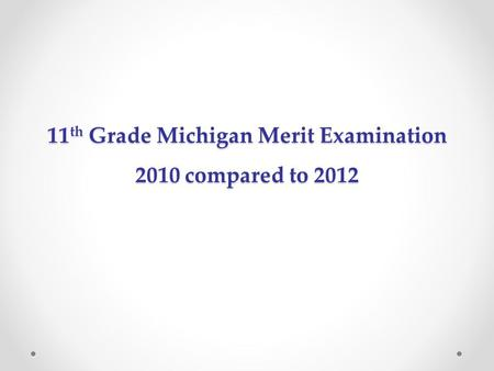 11 th Grade Michigan Merit Examination 2010 compared to 2012.