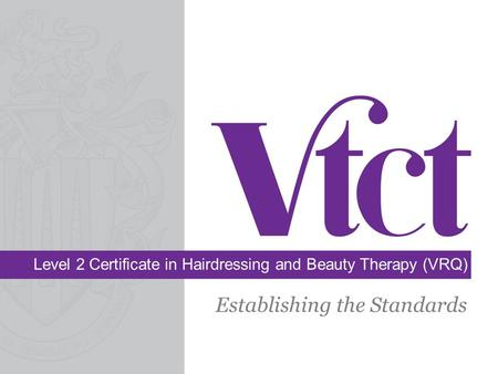 Level 2 Certificate in Hairdressing and Beauty Therapy (VRQ) Establishing the Standards.
