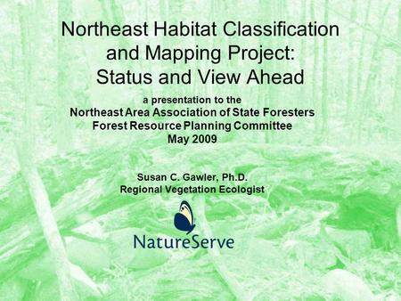 Northeast Habitat Classification and Mapping Project: Status and View Ahead a presentation to the Northeast Area Association of State Foresters Forest.