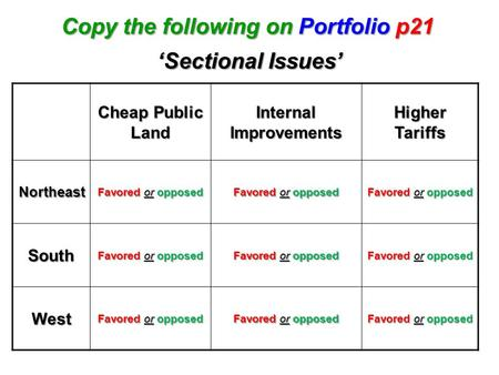 Copy the following on Portfolio p21 Internal Improvements