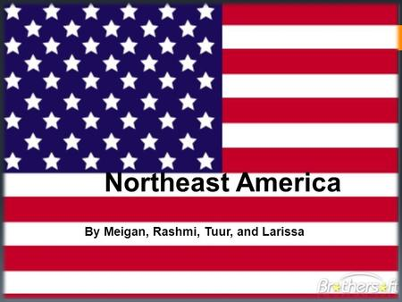 Northeast America By Meigan, Rashmi, Tuur, and Larissa.