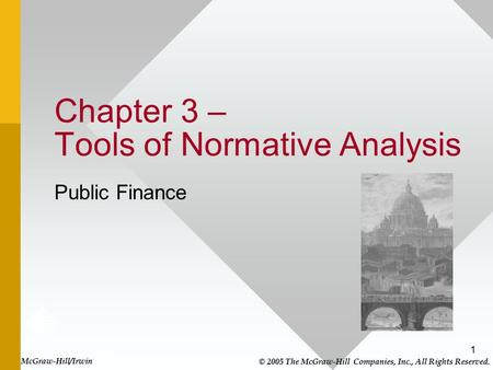 1 Chapter 3 – Tools of Normative Analysis Public Finance McGraw-Hill/Irwin © 2005 The McGraw-Hill Companies, Inc., All Rights Reserved.