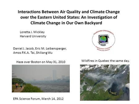 Interactions Between Air Quality and Climate Change over the Eastern United States: An Investigation of Climate Change in Our Own Backyard Loretta J. Mickley.
