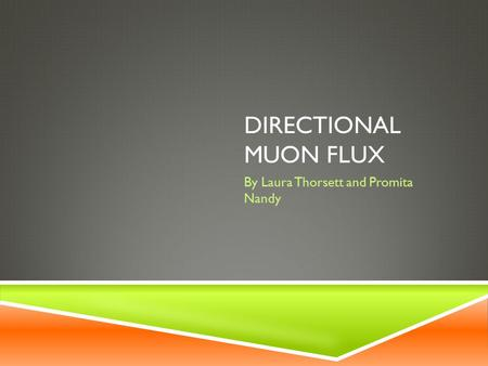 DIRECTIONAL MUON FLUX By Laura Thorsett and Promita Nandy.