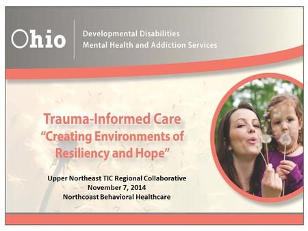 Upper Northeast TIC Regional Collaborative November 7, 2014 Northcoast Behavioral Healthcare.