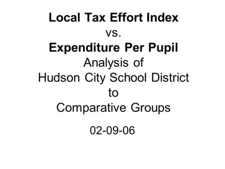 Local Tax Effort Index vs