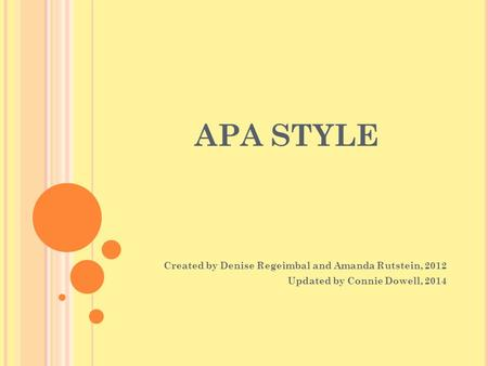 APA STYLE Created by Denise Regeimbal and Amanda Rutstein, 2012 Updated by Connie Dowell, 2014.