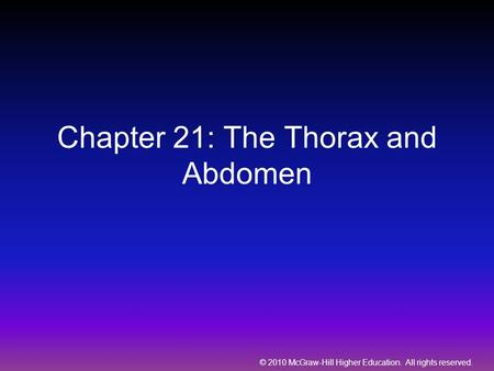 Chapter 21: The Thorax and Abdomen