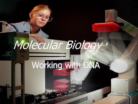 Molecular Biology Working with DNA. Topics  Genomic vs. Vector DNA  Purifying plasmid DNA  Restriction enzymes  Restriction maps.