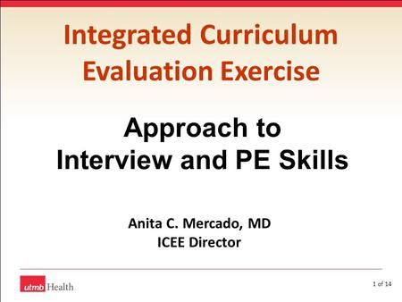 1 of 14 Integrated Curriculum Evaluation Exercise Approach to Interview and PE Skills Anita C. Mercado, MD ICEE Director.