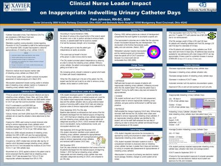 TEMPLATE DESIGN © 2008 www.PosterPresentations.com Clinical Nurse Leader Impact on Inappropriate Indwelling Urinary Catheter Days Pam Johnson, RN-BC, BSN.