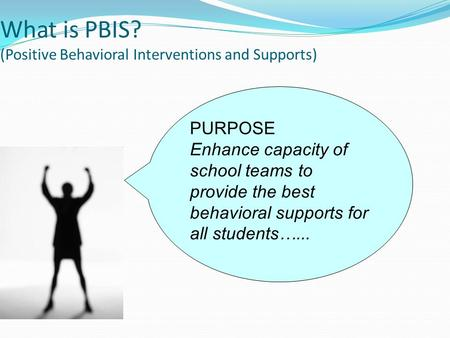 PURPOSE Enhance capacity of school teams to provide the best behavioral supports for all students…... What is PBIS? (Positive Behavioral Interventions.