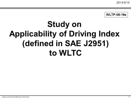 Applicability of Driving Index