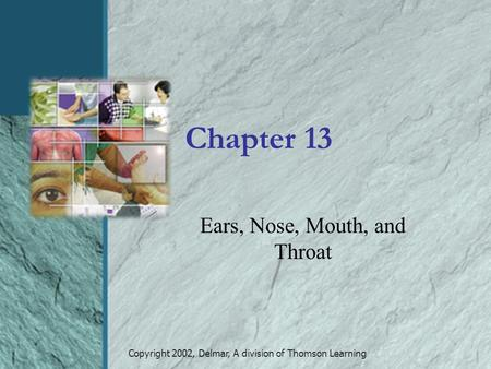 Copyright 2002, Delmar, A division of Thomson Learning Chapter 13 Ears, Nose, Mouth, and Throat.