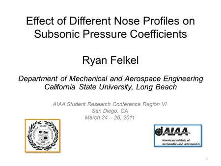 Effect of Different Nose Profiles on Subsonic Pressure Coefficients