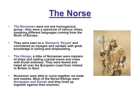 The Norse The Norsemen were not one homogenous group - they were a spectrum of various tribes, speaking different languages coming from the North of Europe.