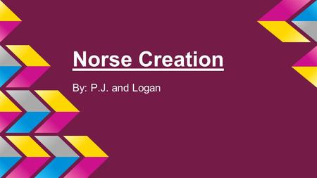 Norse Creation By: P.J. and Logan. The Creator ●Ymir was born from poisonous ice. ●Ymir became father of all giants. ●Ymir fell asleep and his left arm.