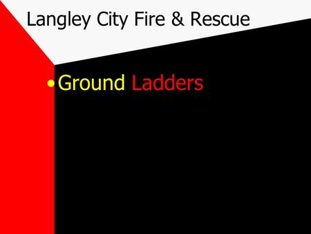 Langley City Fire & Rescue Ground Ladders. Objectives Meet the standards for Firefighter I as outlined in Chapter 3 NFPA 1001, 1997 Candidates be able.