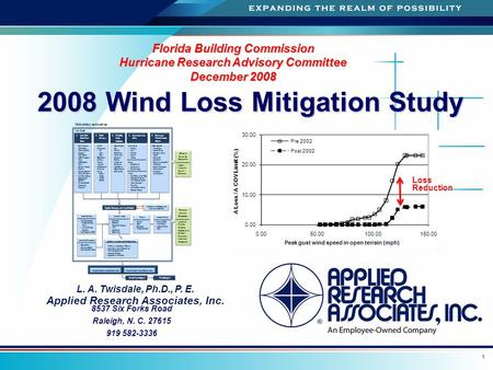 A 1 2008 Wind Loss Mitigation Study 2008 Wind Loss Mitigation Study Florida Building Commission Hurricane Research Advisory Committee December 2008 L.