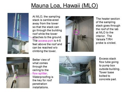 Mauna Loa, Hawaii (MLO) At MLO, the sampling stack is cantilevered away from the tower so that the stack can go through the building roof while the tower.