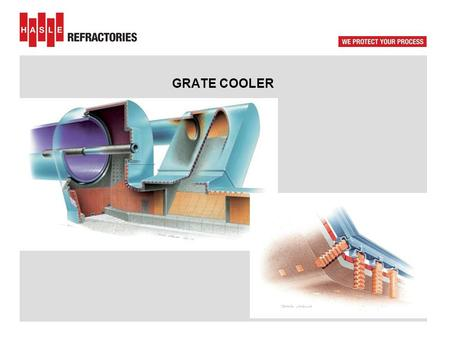 GRATE COOLER Traditional grate cooler - TAD : circa 800 deg.C. Hot zone – cold zone.
