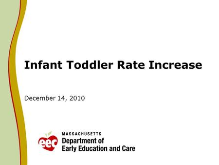Infant Toddler Rate Increase December 14, 2010. Infant Toddler Rate Analysis Based on the analysis of rates for educators in infant and toddler programs,