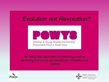An Integrated approach to promoting positive parenting and social and emotional competence in children Evolution not Revolution!!