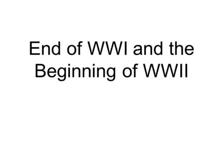 End of WWI and the Beginning of WWII The Versailles Treaty -Germany is forced To pay reparations, Give up land (mandates) And limited their Military.