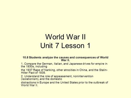 World War II Unit 7 Lesson 1