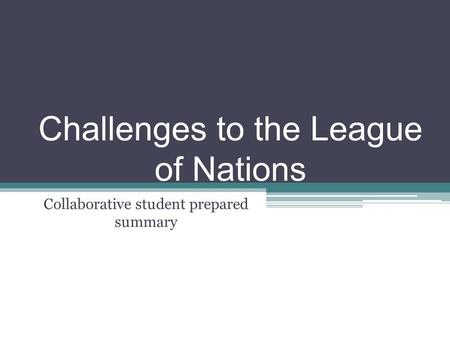 an overview of the league of nations and its issues For an even shorter overview of the league,  and membership issues league of nations information section  the league of nations: its life and times,.