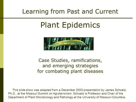 Learning from Past and Current Plant Epidemics This slide show was adapted from a December 2003 presentation by James Schoelz, Ph.D., at the Missouri Summit.