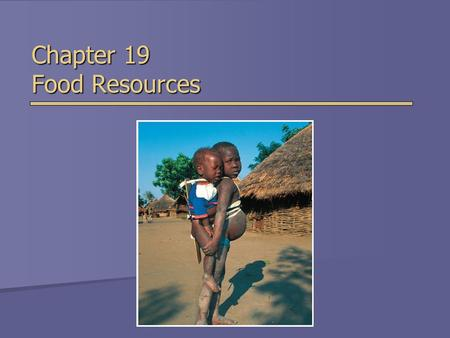 Chapter 19 Food Resources. Overview of Chapter 19  World Food Security  Food Production  Challenges of Producing More Crops and Livestock  Environmental.