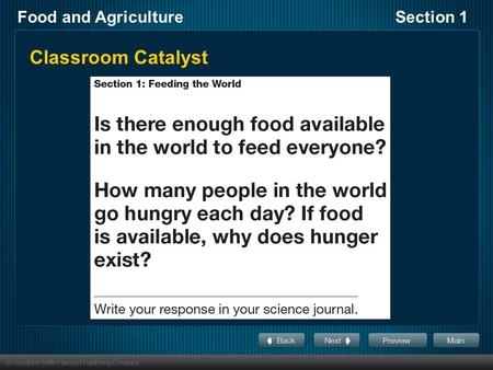 Food and AgricultureSection 1 Classroom Catalyst.