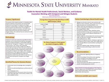 Toolkit for Mental Health Professionals, Social Workers, and Guidance Counselors Working with Immigrant and Refugee Students Rojina Maya McCarthy MSW Student,