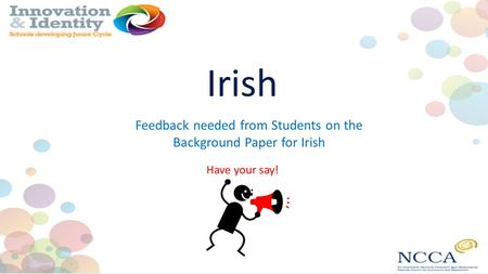 Irish Have your say! Feedback needed from Students on the Background Paper for Irish.