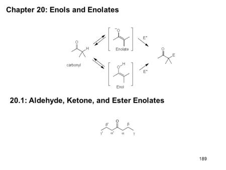 189 Chapter 20: Enols and Enolates 20.1: Aldehyde, Ketone, and Ester Enolates.