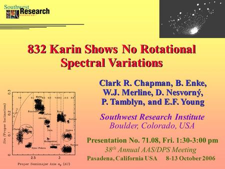 832 Karin Shows No Rotational Spectral Variations Clark R. Chapman, B. Enke, W.J. Merline, D. Nesvorný, P. Tamblyn, and E.F. Young Southwest Research Institute.