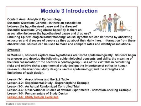 DrugEpi 3-6 Study Design Exercises Module 3 Introduction Content Area: Analytical Epidemiology Essential Question (Generic): Is there an association between.