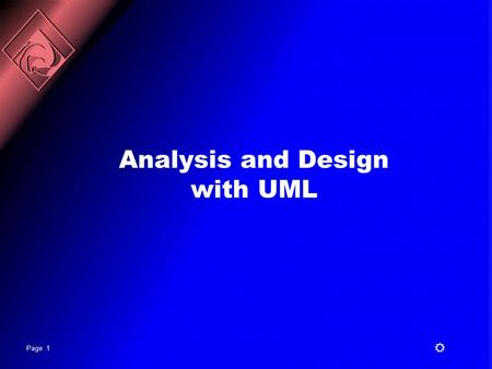 Analysis and Design with UML