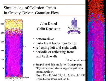 John Drozd Colin Denniston Simulations of Collision Times In Gravity Driven Granular Flow bottom sieve particles at bottom go to top reflecting left and.