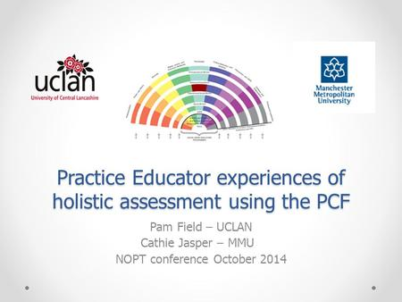 Practice Educator experiences of holistic assessment using the PCF Pam Field – UCLAN Cathie Jasper – MMU NOPT conference October 2014.