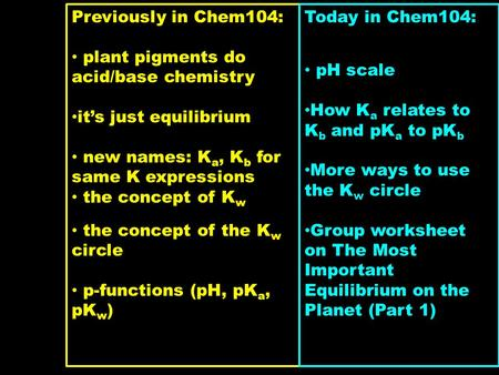 Previously in Chem104: plant pigments do acid/base chemistry it's just equilibrium new names: K a, K b for same K expressions the concept of K w the concept.